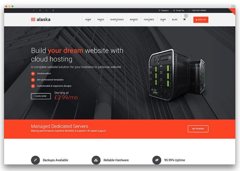 Alaska - theme wordpress bán hosting chất lượng