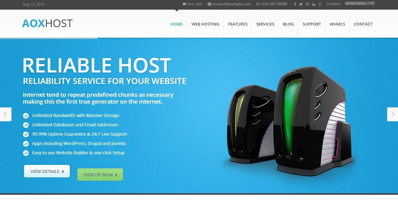 Giao diện website bán theme AOX
