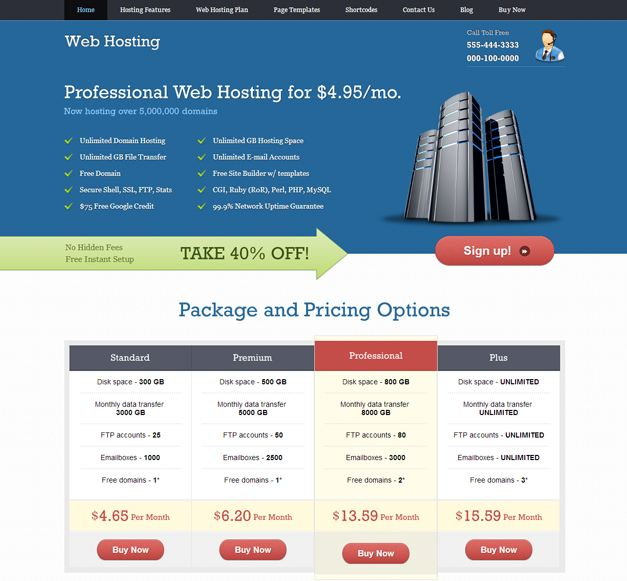 Giao diện web hosting